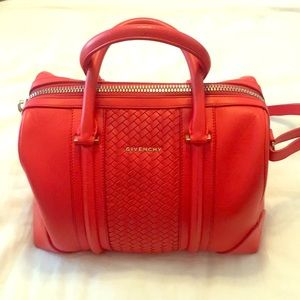 Givenchy Red Leather Medium Woven Lucrezia Bag
